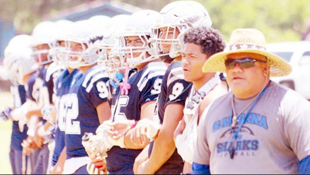 The Samoana sharks on the sidelines during playoff game
