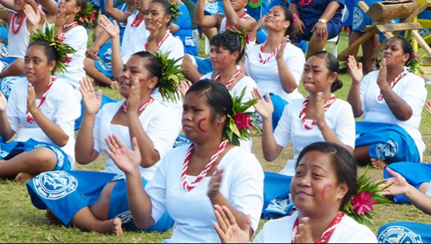 Samoana High School performing during the 2019 Flag Day.