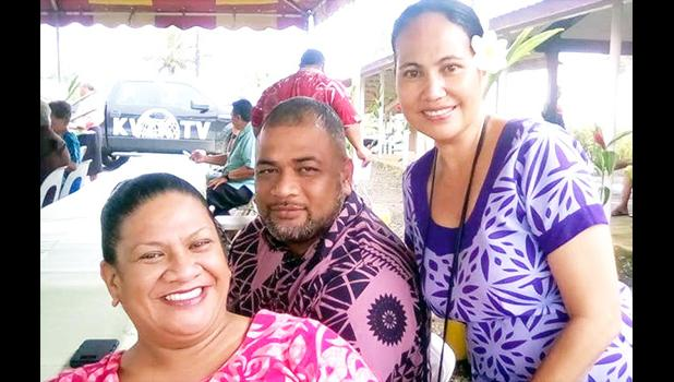 DPW Director Faleosina Faiai Voigt with deputy director Fa'alava'i Taase and Civil Highway official Tanya Ma'o Aab