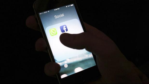 Screen showing social media logos