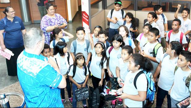 SPA stuents visiting Territorial Bank of American Samoa