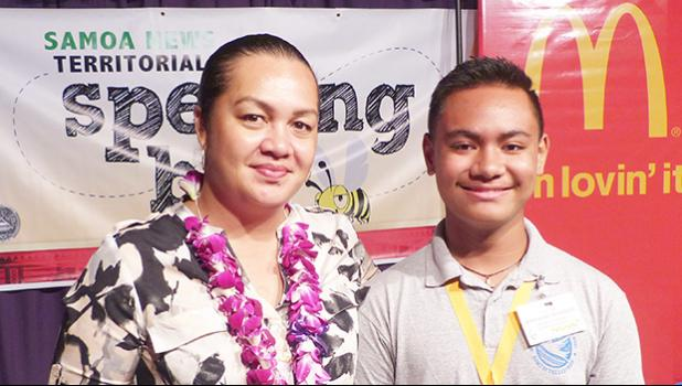 2019 Samoa News Spelling Bee winner, MaoZache Taufete'e with McDonald's American Samoa official, Carol Tautolo Samuelu