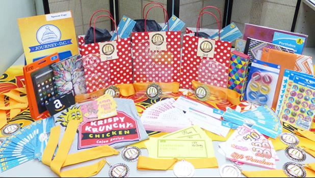 Some of the prizes for the Samoa News Territorial Spelling Bee. [photo: LF]