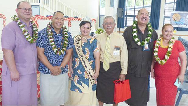 [l-r] ASEPA director Faamao Asalele; director general of Secretariat of the Pacific Regional Environment Programs (SPREP) Kosi Latu; Miss American Samoa Magalita Johnson; DMWR director Vaamua Henry Sesepasara; head of the ASCC Land Grant, Aufa'i Areta; and director of the Climate Resilience Program, Tagaloa Cooper