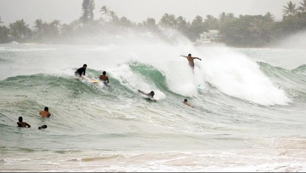 Surfers in in Laie, Hawaii