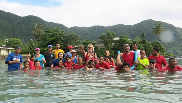 Last Saturday morning at Utulei Beach, parents, supporters, organizers of the swimming event of young athletes with special needs gathered for American Samoa's first adaptive aquatic swim meet. The children with special needs who participated were Lauren, Louisa, Lita, Hanipale, Justin, Dennis, Mosese, Jasmine, Miracle, Sina, and OJ. [Courtesy photo]