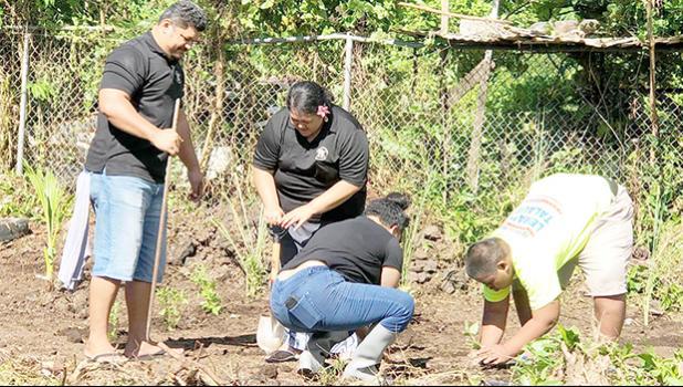 Tafuna Elementary teachers planing in the school's garden