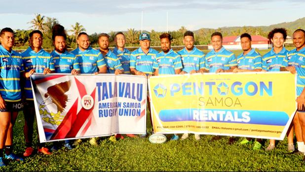Head coach Tommy Elisara (center) with the athletes that will represent American Samoa as the TALAVALU Rugby Team