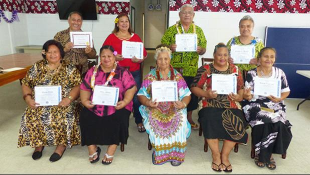 The nine senior citizens who completed the TAOA computer training.