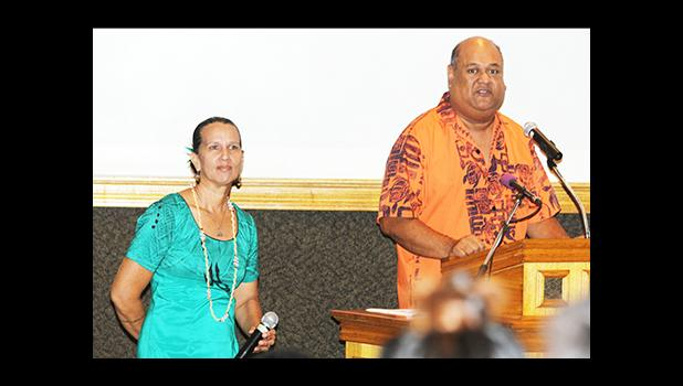 Tatau Forum conductor Poe Mageo, who is a Professor of Music in the Fine Arts Department at ASCC and Regina Meredith Fitiao, Professor of Visual Arts in the ASCC Fine Arts Department. [photo: TG]