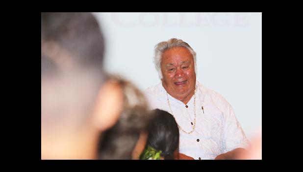 Dr. Unasa laughing during their sharing time with those who attended the Tatau Forum yesterday morning at the ASCC Lecture Hall – as he made time to interact with the students and teachers as well as the members of the public who came out.  [photo: TG]