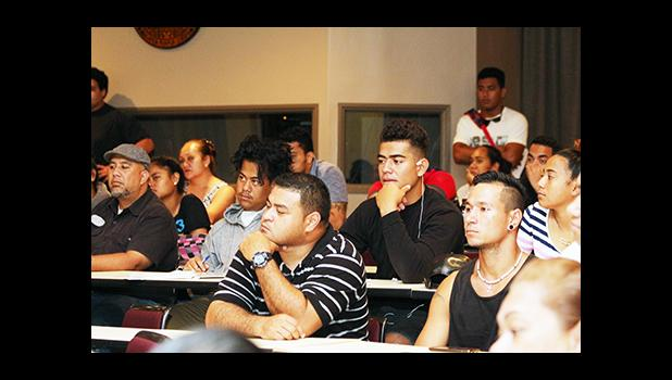 Students of the American Samoa Community College enjoying the presentation from Dr. Unasa, during the Tatau Forum that was held yesterday morning at the ASCC Lecture Hall.  [photo: TG]