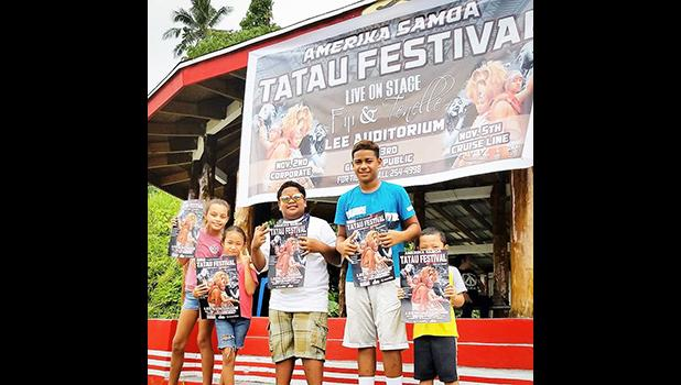 A group of youngsters who gathered at the fale Samoa in front of CBT this past Saturday to help promote the Amerika Samoa Tatau Festival