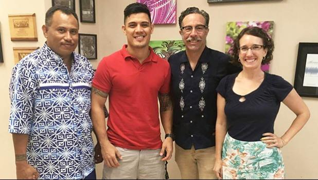 (l-r) Chris Ausage of ASHPO, Joseph Iosefa of Off Da Rock Tattoos, Dr. Christopher Lynn, and Dr. Michaela Howells are teaming up to get local volunteers to participate in a study that could show a link between tattooing and a strong immune system. See story for full details.  [photo: BC]