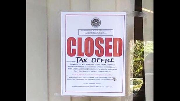 Pictured is a notice posted by DOH this past Wednesday at the Tax Office, saying closed