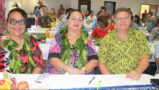 [l-r] Human Resources director Eseneiaso Liu, ASG Budget Office director Catherine A. Saelua, and Territorial Bank of American Samoa chief executive officer, Drew Roberts