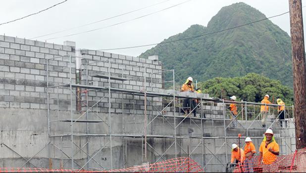 Nana's Construction crew building block wall at TCF