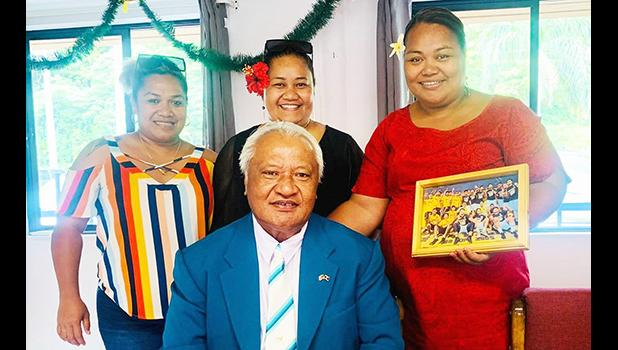 House Speaker Savali Talavou Ale with Seanette Thompson, Sala Godinet and Sianiga Mauigoa.