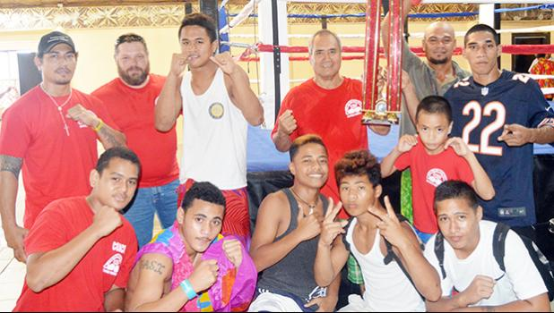 "The American Samoa boxing team won the ""2Samoas Battle"" Trophy after winning all five amateur special bouts of the International Boxing Championship last weekend with the team from Samoa [photo AF]"