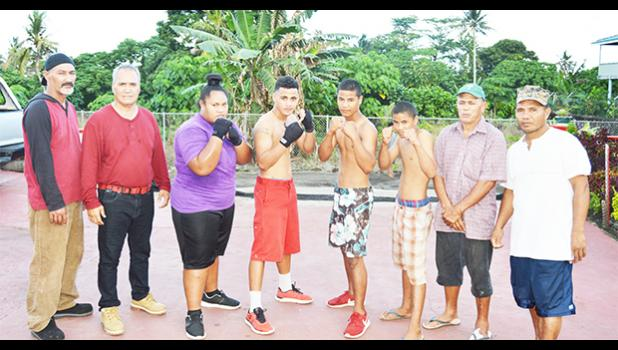American Samoa boxing officials, with local boxers, following a training session last week in Tafuna. The group will be traveling to Samoa this weekend to take part in the Annual Teuila Boxing Championships. See story for full details. [photo: AF]
