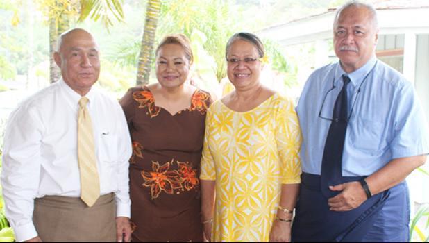 I'aulualo Fa'afetai Talia and his wife, Carol, along with Alesi Aga, and her husband, candidate for lieutenant governor, Tapa'au Dr. Dan Mageo Aga, during a news media event