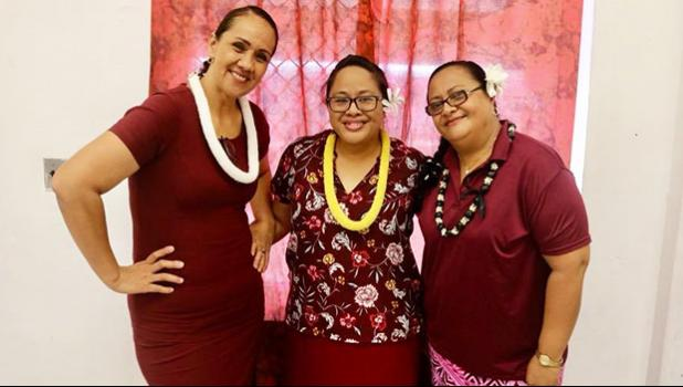 Tafuna HS teachers Fiatele Aiono (NHS chair);  Jordanna Maga (Territorial Teacher of the Year);  and Siaa Alama (NHS co-chair)