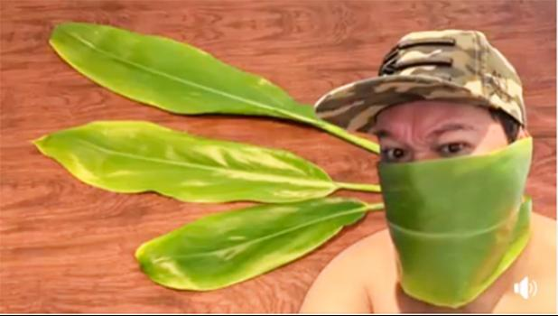 Man in a ti leaf face mask
