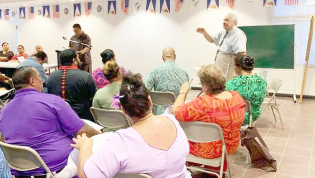 Chief Election Officer, Dr. Lealofi Uiagalelei, speaking at election training