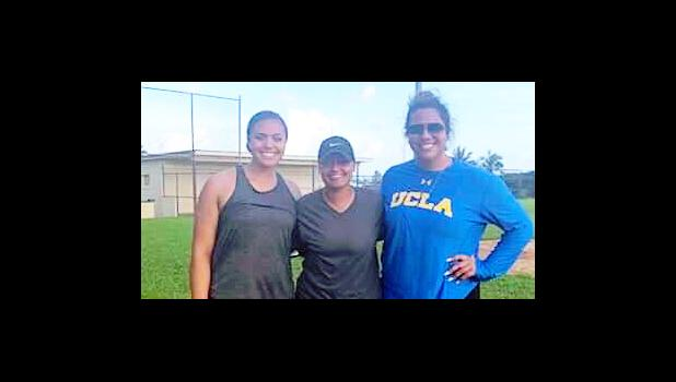 New Mexico State University softball commit Matalasi Uiagalelei Fa'apito, with her cousin Selina Uiagalelei Ta'amilo, former UCLA star pitcher; and Manumalo Academy softball coach Tiana Trepanier