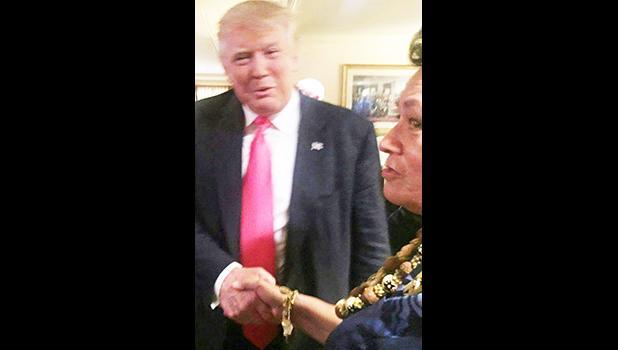Congresswoman Aumua Amata and President Donald Trump. [courtesy photo]