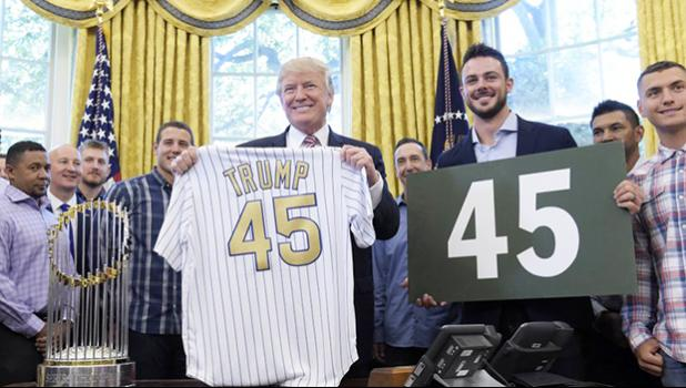 President Donald Trump with Chicago Cubs third baseman Kris Bryant in June. (AP Photo/Susan Walsh, File)