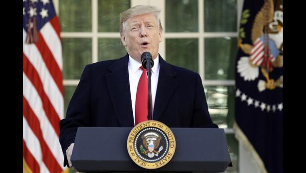 President Donald Trump speaks in the Rose Garden of the White House, Friday, Jan 25, 2019, in Washington