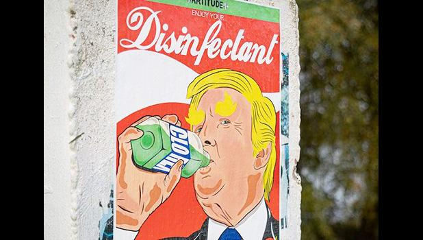 Cartoon of Trump drinking from a bottle