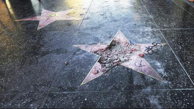 Donald Trump's vandalized star on the Hollywood Walk of Fame in Los Angeles