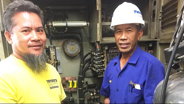 ose Larry Magalasin- electromechanical Engineer (right) and technician Maximo Jun Langgam (left).