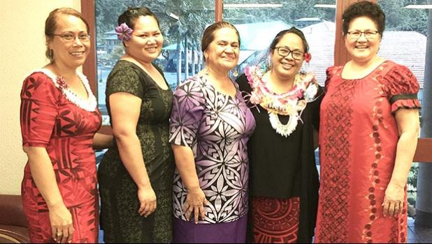 Jordanna Maga (second from right), a mathematics' teacher at Tafuna High School, has been selected as the 2019 Territorial Teacher of the Year (TTOY). Maga is pictured with Education Department director Dr. Ruth Matagi-Tofiga (third from left) and other ASDOE officials.