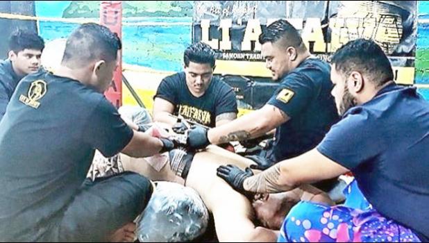 David Tua getting traditional Samoan pe'a in boxing ring