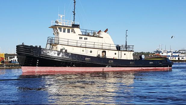 This photo provided by Ocean Marine Brokerage Service shows the tugboat Peggy H in the waters of Bayou La Batre, Alabama. ASG Port Administration finalized the tugboat's purchase for the Port of Pago Pago last Friday. The governor will make the official announcement later of the tugboat's new name.  [photo: Ocean Marine]