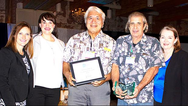 (L to R) Dr. Meridith Jaeger, UEDA President; Dr. Margo Fliss, UEDA Awards of Excellence Committee Chair, Papalii Dr. Tusi Avegalio PBCP Director, Mike Lurvey UH PBCP/MPBI scientist & inventor and Dr. Julia Potter, incoming UEDA President.