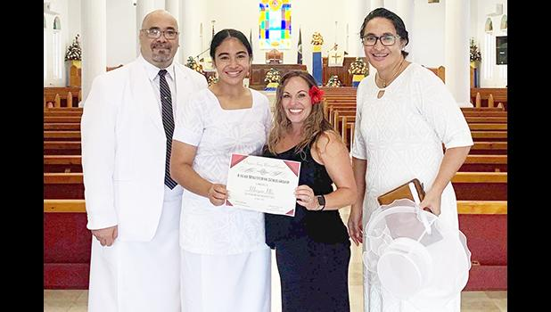 PV2 Morgan Ulu with her parents, Rev. Iasepi and Leone Ripley-Ulu, and SFC Sheri Hoddle