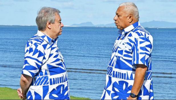 UN Secretary General Antonio Guterres with Fijian Prime Minister Frank Bainimarama