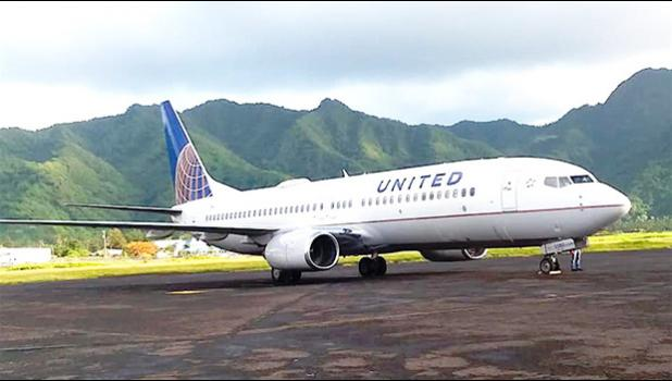 United Airlines plane on the ground in Pago Pago
