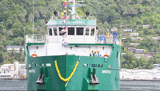 ASG's new MV Manu'atele during one of its three turnarounds in front of the main docks in Fagatogo, upon sailing into the Port of Pago Pago on Jan. 4. It is still awaiting US Coast Guard clearance for its maiden voyage to the Manu'a islands. See story below.  [photo: AF]
