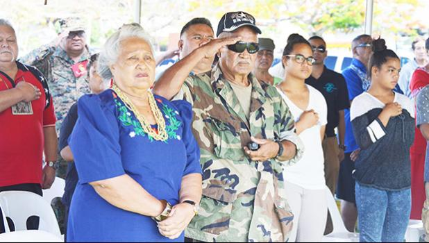 Local vets and their families joined the rest of the nation in honoring all veterans last Friday during a special ceremony hosted at the VA Memorial in Tafuna. [photo: AF]