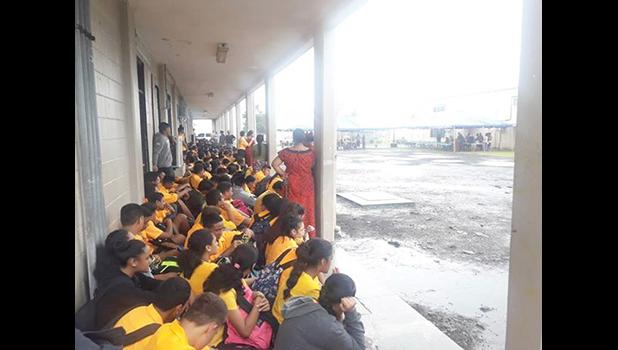 Students and teachers are seen here crammed into the school's walkways
