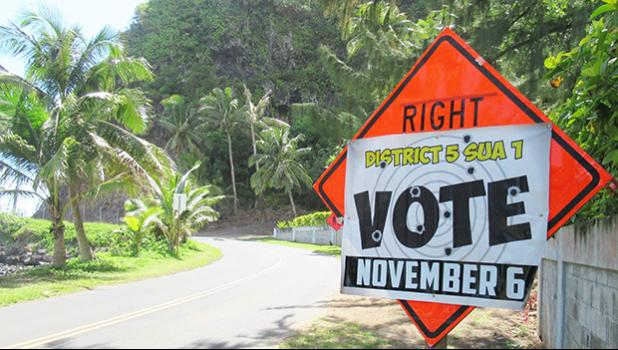 A sign from the East Side reminding the public to vote today in local elections