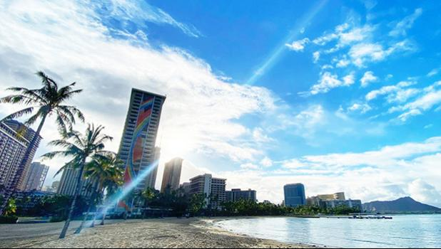 A view of Waikiki Beach looking toward Hilton Hawaiian Village.