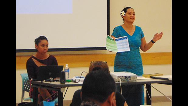 Meteorologist-In-Charge, Elinor Lutu-McMoore (right) speaking at yesterday's Tropical Cyclone Awareness Workshop