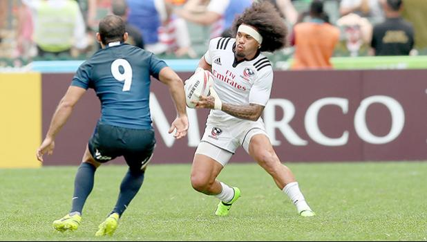 At the HSBC World Rugby Sevens Series XVIII in Hong Kong on April 8, 2017 USA's Folau Niua heads for the try line against Argentina.  USA beat Argentina 33-5 to win Pool D with 9 points.   USA will face England in the Cup quarter finals.  Argentina  will play Australia, winner of Pool A.