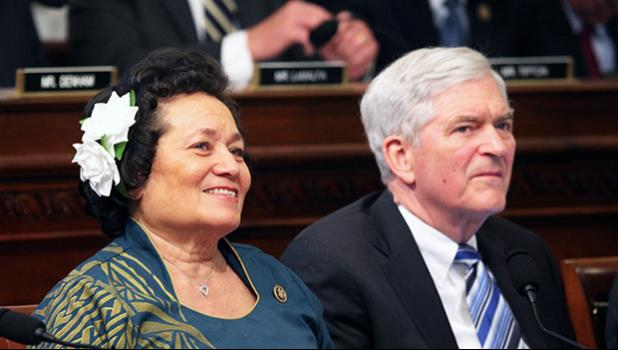 Congresswoman Amata and a Natural Resources Committee colleague, Congressman Daniel Webster of Florida, working on a markup of a bill in March. [courtesy photo]
